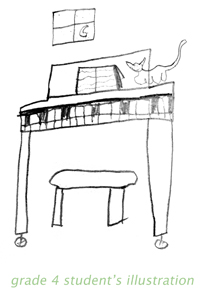 grade 4 student's illustration for Germy Johnson's Piano War