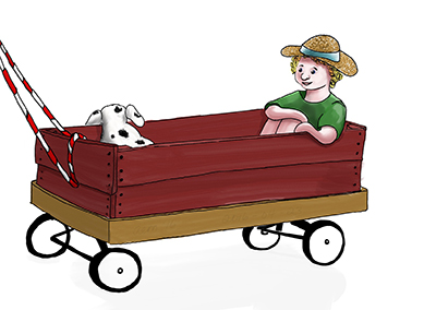Imagined child being pulled in a red wagon.